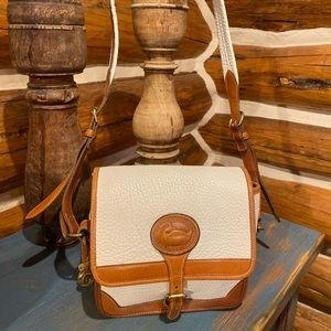 Vintage White Tan Dooney & Bourke AWL USA Handbag